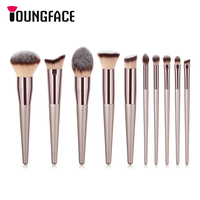 10pcs Makeup Brushes Set Professional Powder Foundation Eyeshadow Eyebrow Blush Cosmetics Make Up Brushes Soft Synthetic