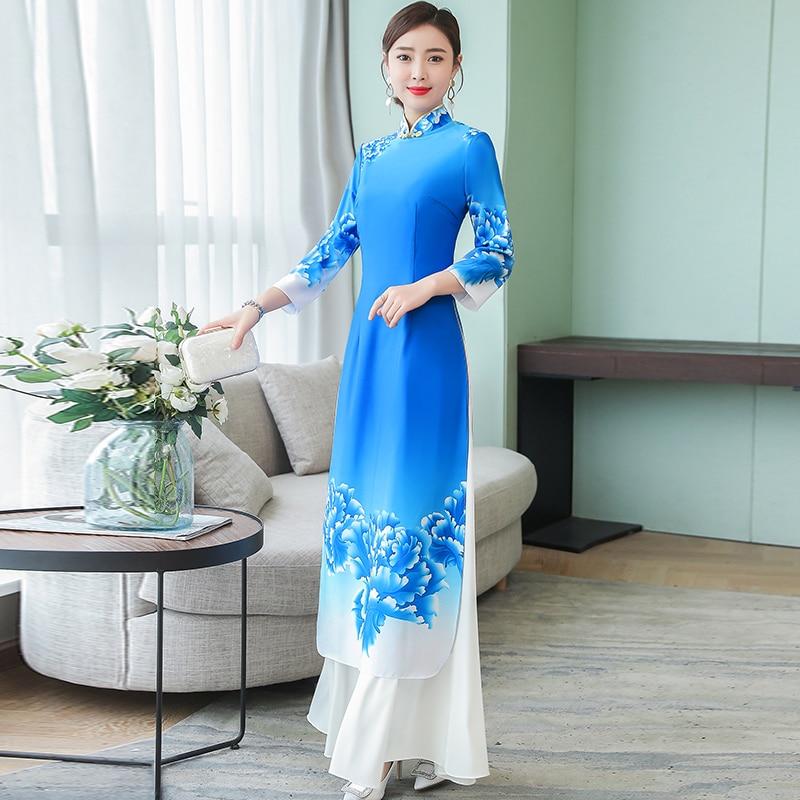 2019 summer ao dai japanese japanese direct selling cotton women ao dai yukata high end vietnam aodai cheongsam dress