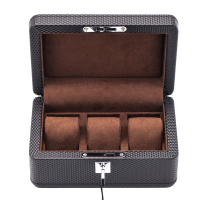 Yao 3 Slots PU Leather Watch Case Fashion Design Brown Watch Display Boxes With Lock And Pillow Watch Storage Case W031 fashional irregular goemetry joint scrawl design pillow case