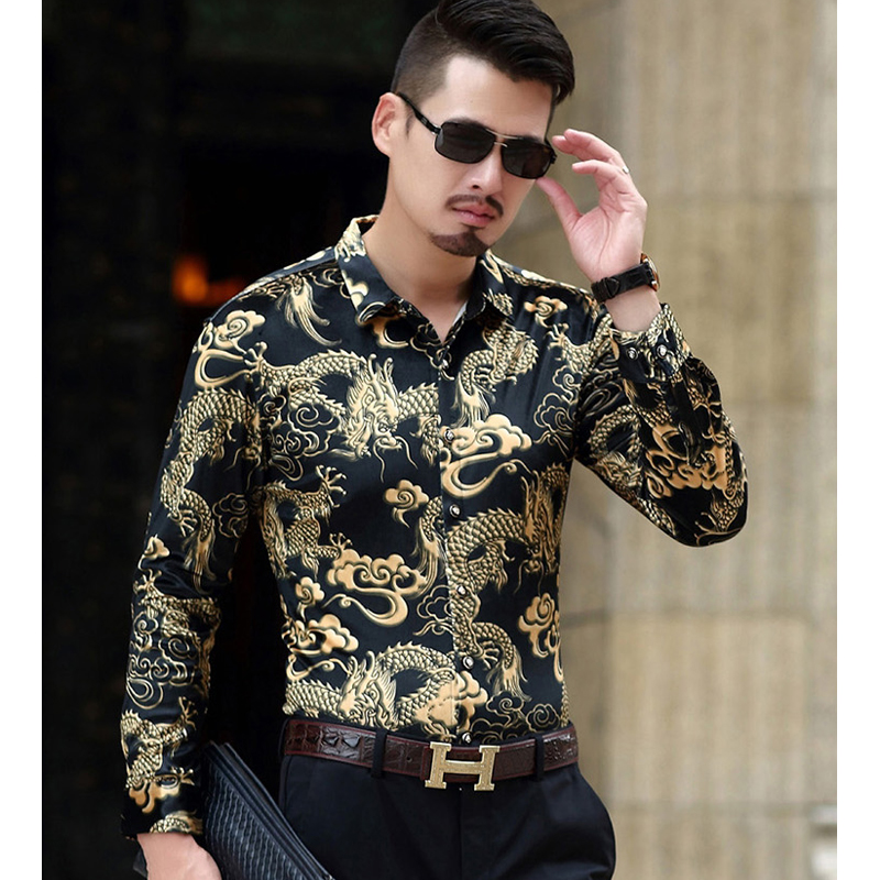 Fashion Men Luxury Brand  Silk Shirt Good Quality Chinese Style Dragon Pattern Velour Tuxedo Shirt Men