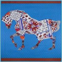 100 Silk Euro Brand Style Women Poker Joint Horse Leopard 130cm 130cm Silk Square Scarf Femal