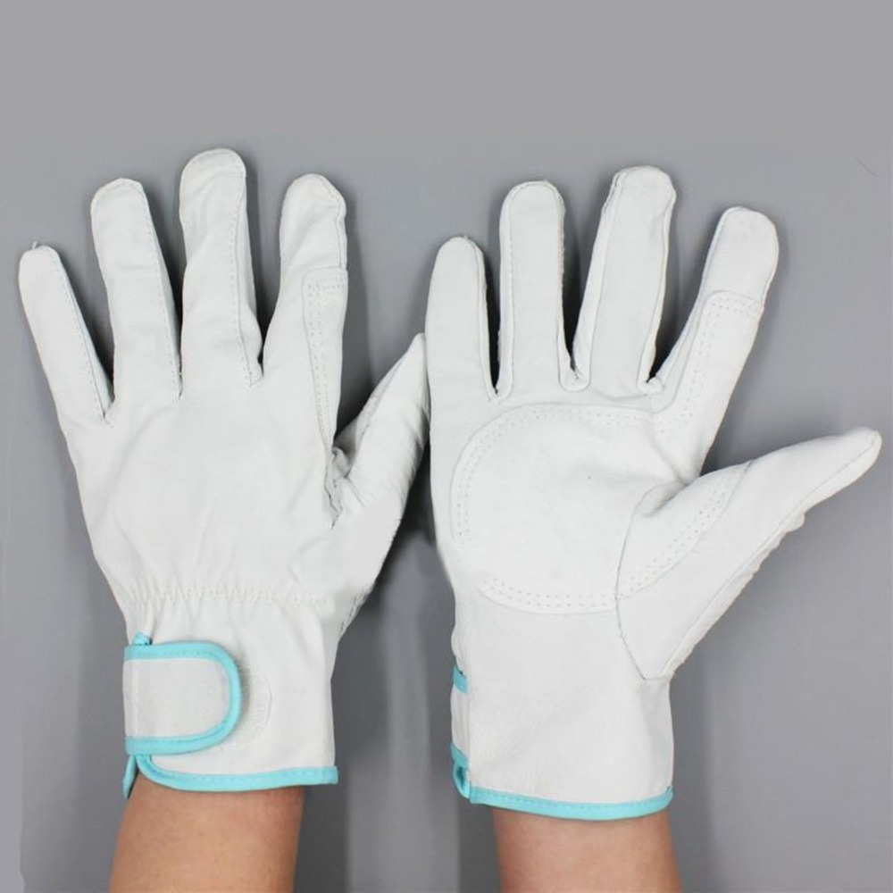 1 Pair Of White Working Gloves Wear Resistant Electric Welding Soldering Safety Labor Protective Gloves Metal Industrial Gloves