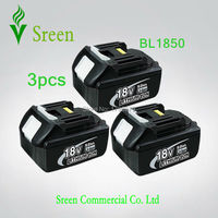 3 X New 5 0Ah Power Tool Battery Replacement For Makita 18V BL1830 Spare Rechargeable Li