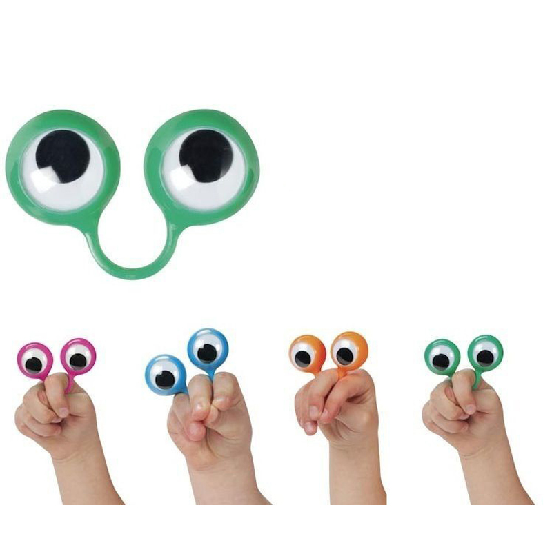 1pc Novelty Eyes Finger Ring Jokes Toys For Children Cute Plastic Rings With Wiggle Eyes Finger Spies Funny Kids Birthday Party