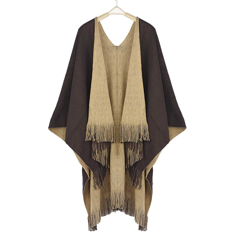 Image 2 - Women Cardigans Solid Shawls Knitted Poncho Blanket Oversized Reversible Reversed Sided Scarf Tassel Fashion Poncho And Capes-in Women's Scarves from Apparel Accessories