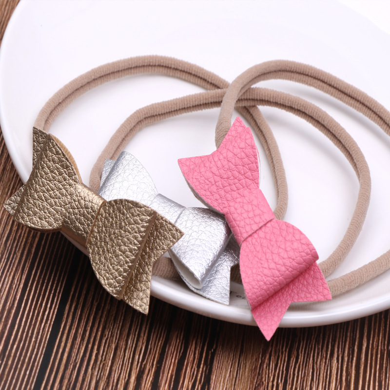 Baby Girls PU Hair Bow Headband Set Nylon Headbands Kids Lovely Hair Accessories 3pcs/Set