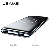 Dual USB Ports 10000mah Power Bank,USAMS QI Wireless Charger Pad Power Bank Built in Wireless Charging Universal PowerBank