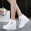 Горячие Продажи нового весна Осень обувь серебристо-Белый Скрытый Танкетке Повседневная обувь женские Лифт Высоких каблуках обувь для Женщин