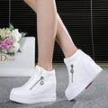 Venda quente nova primavera Outono sapatos Brancos de prata Saltos de Cunha Escondidos Casuais sapatos de senhora das mulheres Elevador-sapatos de salto alto para As Mulheres
