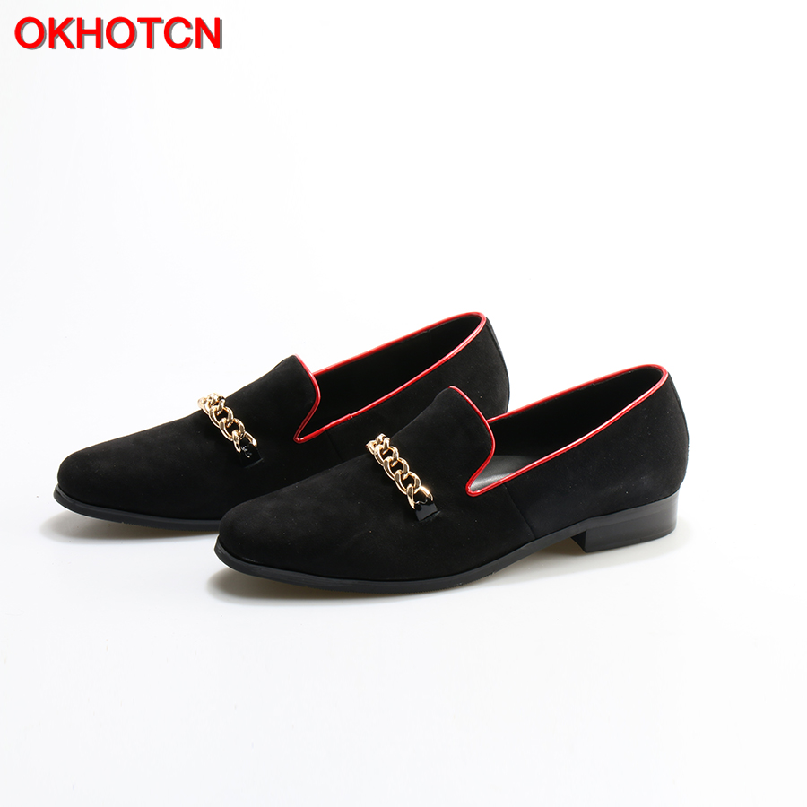OKHOTCN Black Suede Leather Men Loafers With Gold Chain Wedding And Party Men Casual Shoes Somking Slippers Big Size Men Flats new fashion gold snakeskin pattern loafers men handmade slip on leather shoes big sizes men s party and prom shoes casual flats