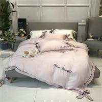 Белый/розовый/синий бант изысканная вышивка 60 S постельное белье из ткани тенцель набор пододеяльников постельное белье льняное постельное