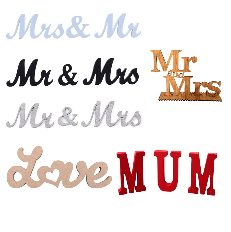 Wooden Letters Mr & Mrs Wedding decoration Romantic Marriage Birthday Mr & Mrs Wedding Sign