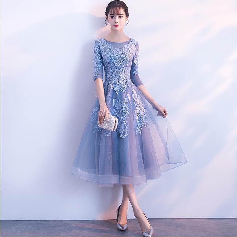 O Neck Half Sleeve Little Blue   Dress   Illusion Ruffles A-Line Short Prom   Dress   Wedding Party   Dress   Lace   Cocktail     Dresses