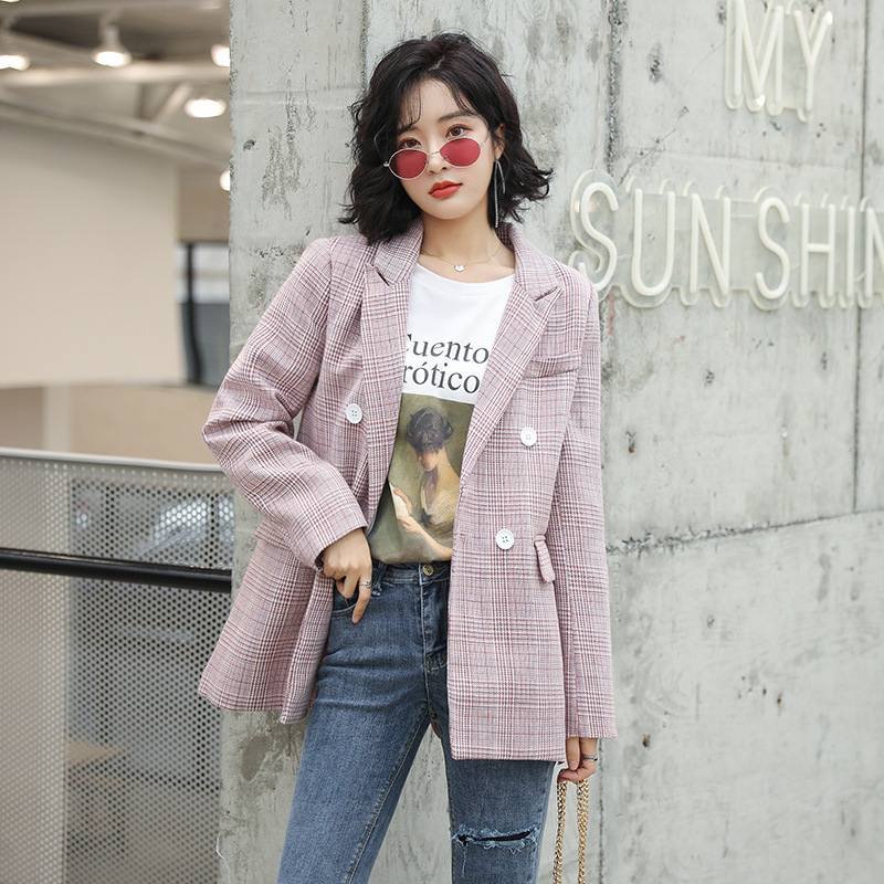 Spring Suit Woman 2019 Lattice Loose Coat Colorful Plaid Blazers Jacket Female Check Pattern Leisure Time Suit Tops Outwear thumbnail