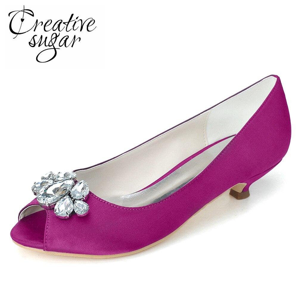 Creativesugar Elegant satin evening dress shoes with crystal big stones open toe kitten heels wedding party prom slip on pumps
