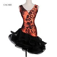 2018 NEW Flapper Dress Latin Dance Dress Women Latin Dance Costume CHEAPEST D0251 Leopard with Fluffy Sheer Hem