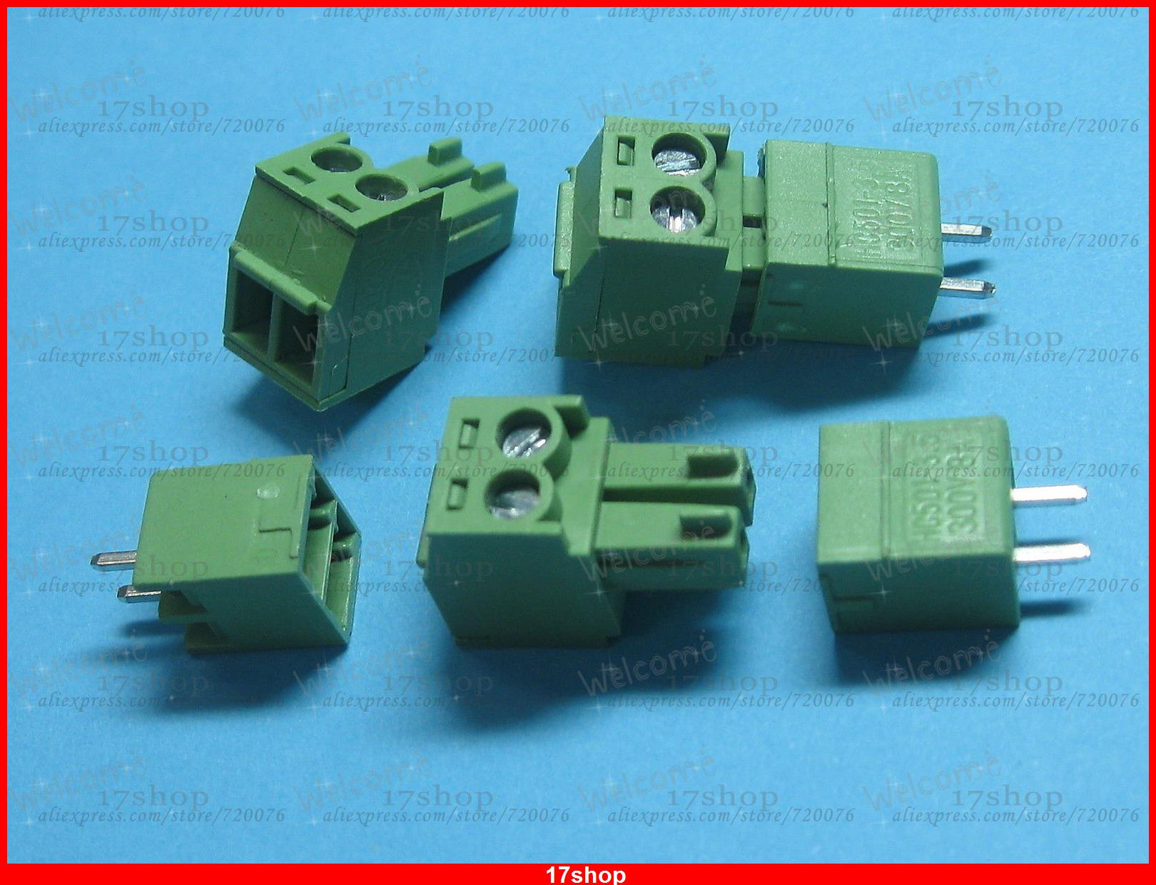 200 x Pitch 3.81mm 2way/pin Screw Terminal Block Connector Green Pluggable Type