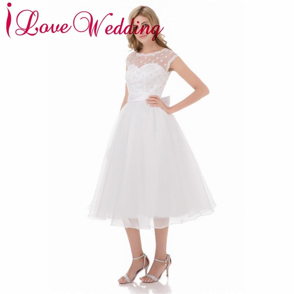 Hot Sale 1950s Retro Polka Dotted Short Wedding Dresses White Organza Ball  Gown Woman Mid Calf ... 66ea73f26dc2