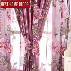 最高の家の装飾花窓遮光カーテンリビングルーム寝室の現代チュールカーテンウィンドウ処理のためのブラインド