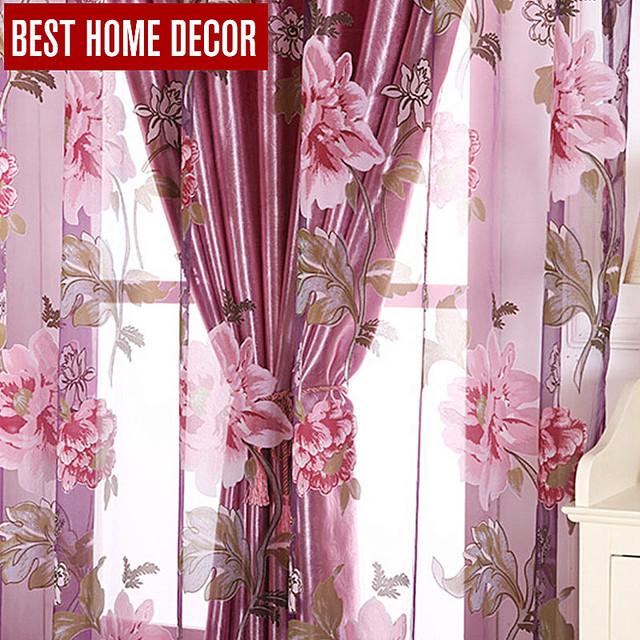 Best home decor floral window blackout curtains for living room the ...