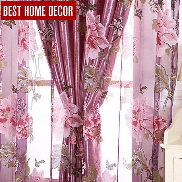 Beste home decor bloemen venster verduisterende gordijnen woonkamer ...