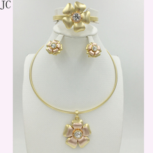 New High Quality Dubai Jewelry Set 3COLOR real Gold Plated Nigerian Wedding African Jewelry Sets Parure Bijoux Femme