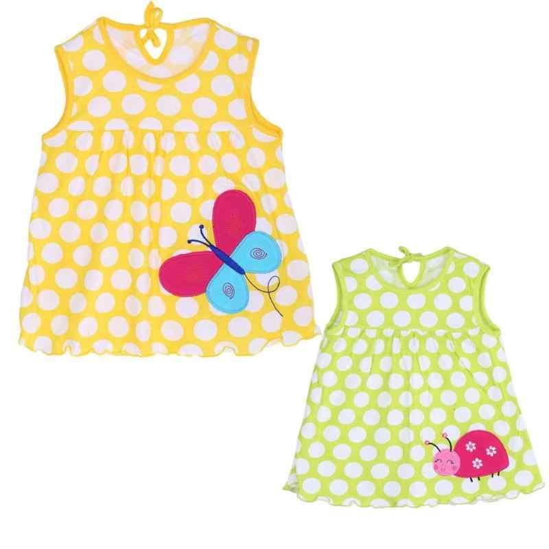 Baby Girls Dresses Sleeveless 2019 Summer Princess O-neck Cotton Princess Mini Dress Child Cute Dot Pattern Decor Clothes 0-2T