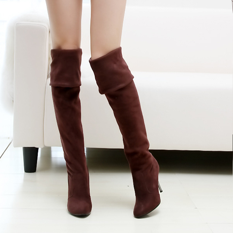 Women Boots High Heels Round Toe Knee Boots Woman Shoes Female Boots Black Gray Brown sexy pointy toe black brown cowhide stitching rabbit fur women knee high heels boots 2016 winter new hot sale female shoes