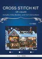 7TH Embroidery Cross Stitch Kits Needlework Christmas Cottage Scenery Snowy day 14CT Counted Unprinted DMC DIY Arts Handmade