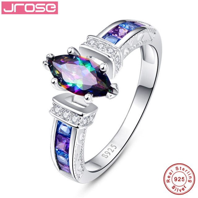 Hot Explosion Jrose 1 45ct Engagement Ring Mystic Fire Cz Multi Color 100 925