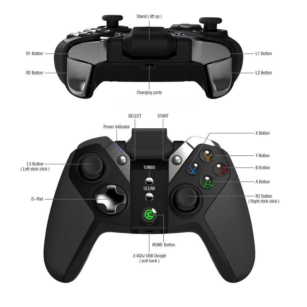 GameSir G4s Android manette pour Smartphone Bluetooth 4.0 pour PS3 Android TV BOX 2.4 GHz contrôleur sans fil pour PC VR jeux - 5