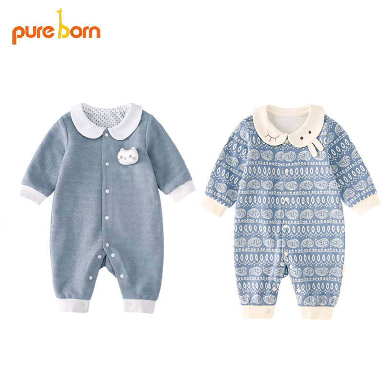 Pureborn Baby Romper Newborn Baby Clothes Clothing Jumpsuit for Girls Boys Toddlers Cotton One Piece Long Sleeve 2018 Brand New baby clothing summer infant newborn baby romper short sleeve girl boys jumpsuit new born baby clothes