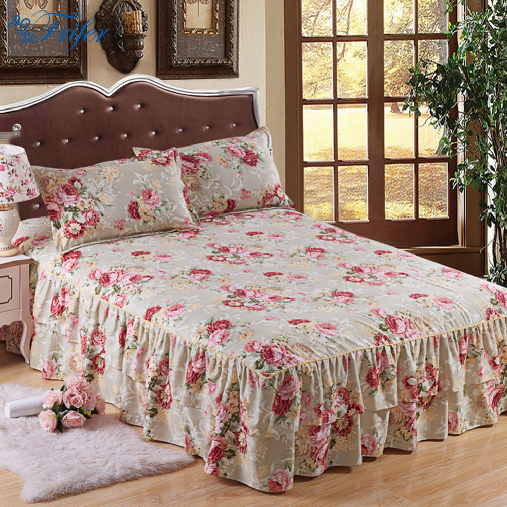 Home Floral Printed Cotton Bed Skirt Elastic Mattress