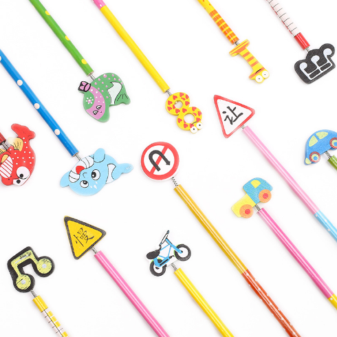 10Pcs/Lot Cartoon Kawaii Animals Traffic Signs Numbers Standard Pencils Creative Gift For Kids School Office Supplies 412