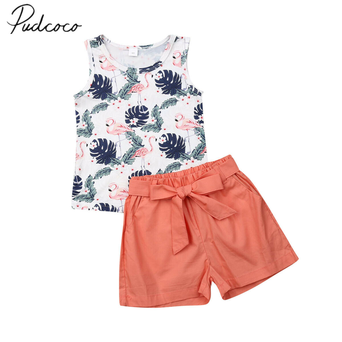 Kids Baby Girls Sleeveless Tops T-Shirt Floral Short Pants Set Clothes Outfits