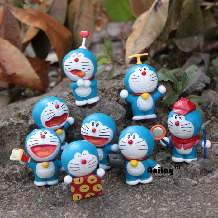 8pcs/set Anime Catoon Cute Doraemon Mini dolls PVC Action Figure Collectible Model Toys Girls Boys Children's Gift 4-6cm KT174 6 pcs set the powerpuff girls action figure toys cute cartoon blossom bubbles buttercup model pvc dolls kids christmas gift