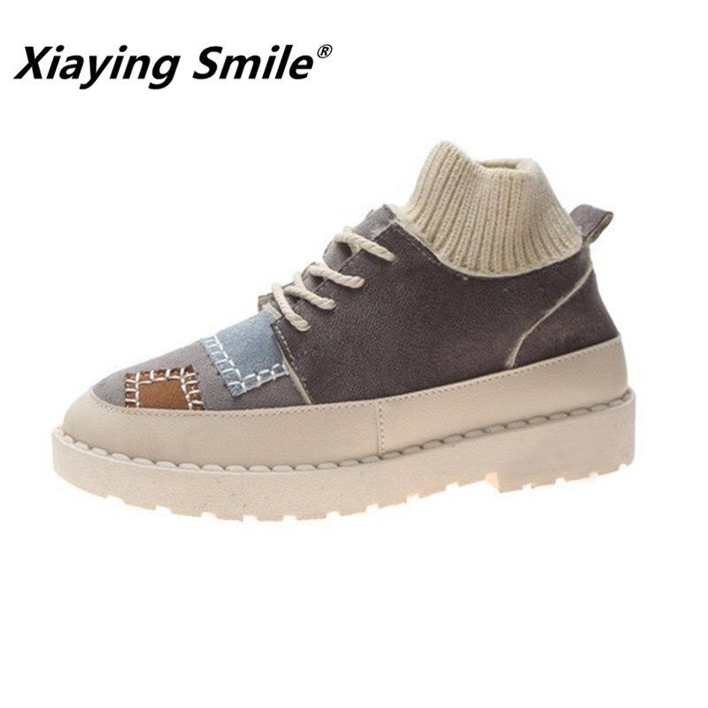 Xiaying 스마일 ins 핫 스타일 여성 발목 부츠 겨울 웹 연예인 양말 신발 트렌드 세터 필요성 여성 패션 캐주얼 신발-에서앵클 부츠부터 신발 의  그룹 1