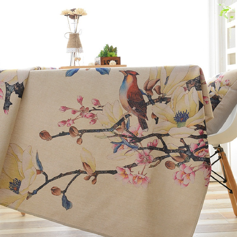 Flowers Birds Digital Printed Polyester Fabric Waterproof Tablecloth Covers Decoration Table Cloth toalha de mesa