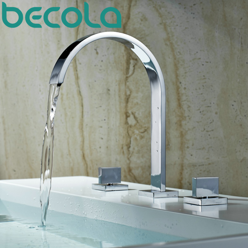 becola Bath Shower Faucet Chrome Finished 3 pcs Bathroom Torneira Taps Dual handle Basin Sink Rotatable Faucet LT-7773Nbecola Bath Shower Faucet Chrome Finished 3 pcs Bathroom Torneira Taps Dual handle Basin Sink Rotatable Faucet LT-7773N