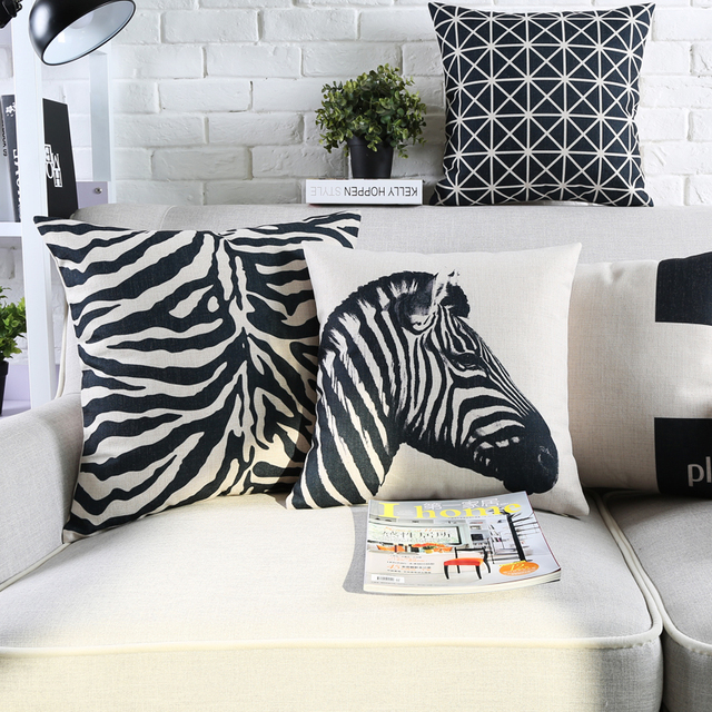 Vintage Black And White Decorative Throw Pillows Cases Zebra Paris  Geometric Cushion Cover Home Decor Plaid