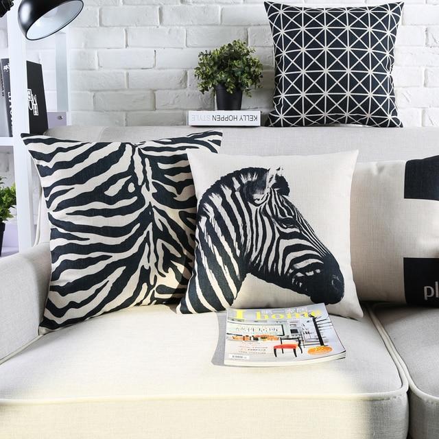 Vintage Black And White Decorative Throw Pillows Cases Zebra Paris Geometric Cushion Cover Home Decor Plaid