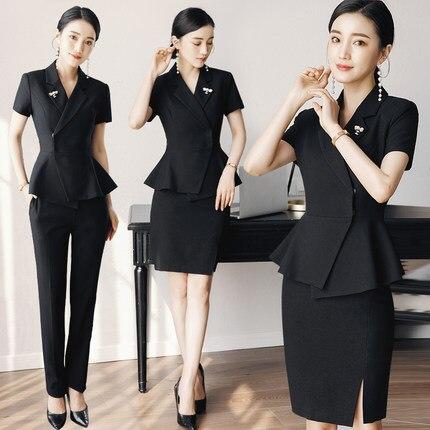 Manches courtes costume professionnel femme mode cosmétologue travail vêtements déesse fan bijoux boutique costume OL vêtements de cérémonie