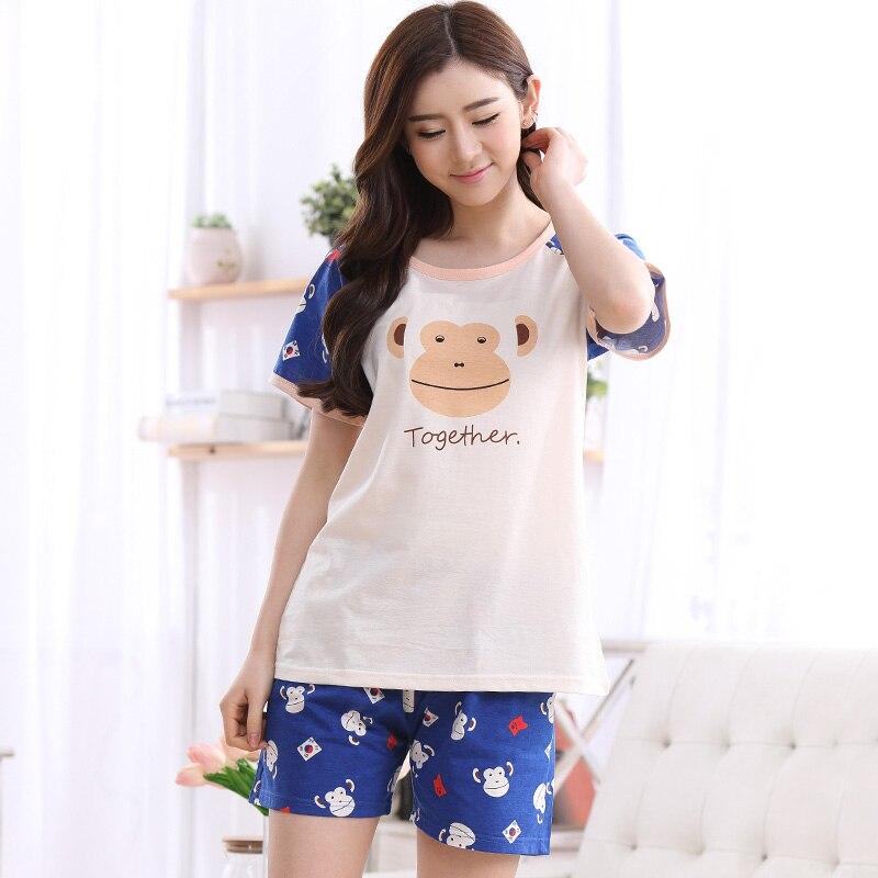 Underwear & Sleepwears Hot Selling Summer Cute Pajamas Sets Cartoon Monkey Printed Cotton Women Pajamas Short Sleeve Loungewear Pyjama Femme Clothing Women's Sleepwears