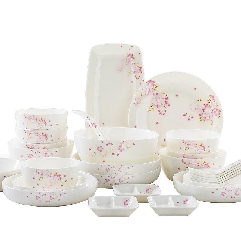 Guci service de vaisselle japonaise en porcelaine | À os, ensemble de bols et de plats ménage assiette de Cuisine coréenne, bol de salle à manger vitré et céramique