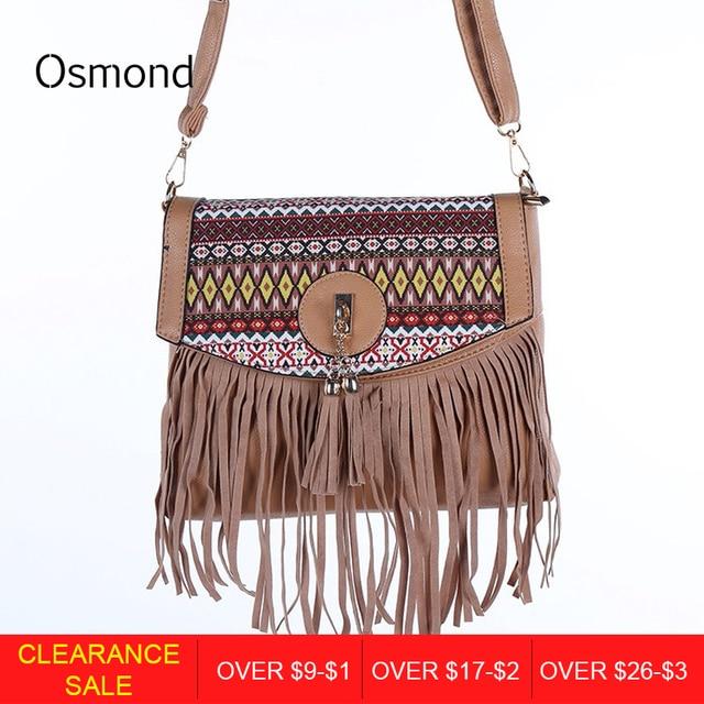 1c20474880 National Women Tassel Messenger Bags Pu Leather Crossbody Sling Bag Ethnic Vintage  Style Fringe Lady Shoulder Bolsa hobos
