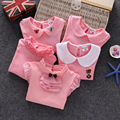Primavera y otoño de las muchachas camisas de algodón collar de la muñeca muchacha de los niños de manga larga camisetas roupas infantis menina