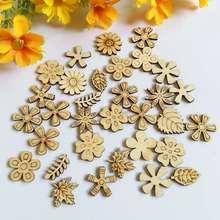 100pcs/lot Wood Chips mix Flower For Kids Handcrafts Scrapbooking Decor DIY Craft Embellishment Supplies Making