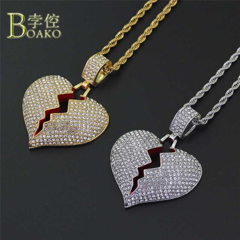 BOAKO Punk Broken Heart Necklace Women Gold Rhinestone Chain Necklace Ice Out Jewelry Men couple necklace Girl Gift Party B5