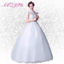AXJFU Temperament Elegant White Flower Lace Wedding Dress