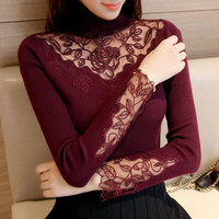 2017 Spring Turtleneck Knitted Sweater Women Sweaters And Pullovers Sexy Embroidery Lace Hollow Out Solid Slim